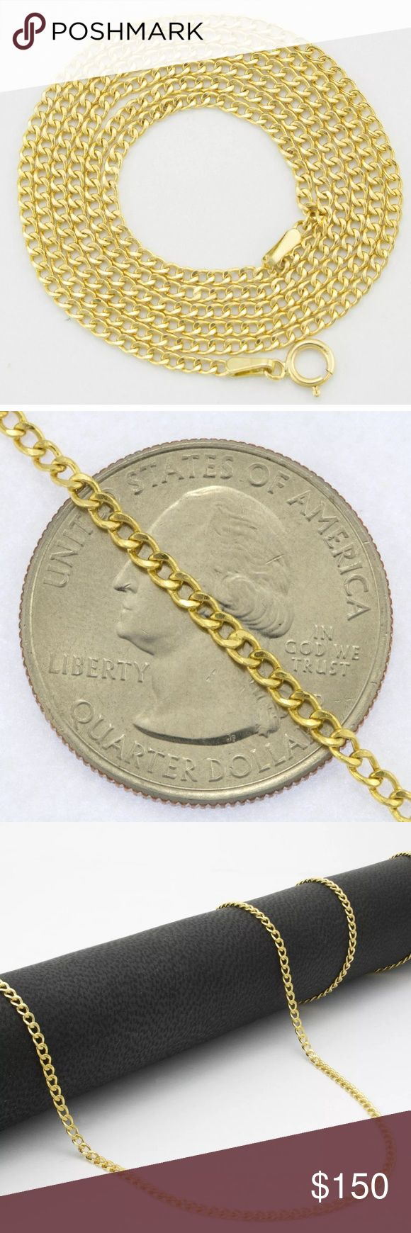 """Solid 10K Gold Cuban Link Chain 20"""" Necklace New Brand New Cuban Chain is 100% GENUINE 10K YELLOW GOLD and has been professionally tested and Stamped 10K for Authenticity.  The chain fastens with a Solid 10K Yellow Gold Spring Ring Clasp that is very strong and easy to use. The chain can be worn on its own or with a pendant. Cuban Chains are especially known for their classic style, shine, and strength.  This high quality chains will not tarnish or discolor as it is Pure 10K Gold and MADE IN…"""