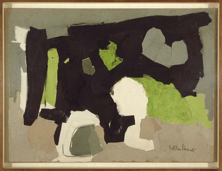 Black, Grey and Green (Negro, gris y verde). Esteban Vicente. 1961. Collage de papel y carboncillo sobre lienzo. 68,5 x 91,5 cm. Colección Museo Nacional Centro  de Arte Reina Sofia.