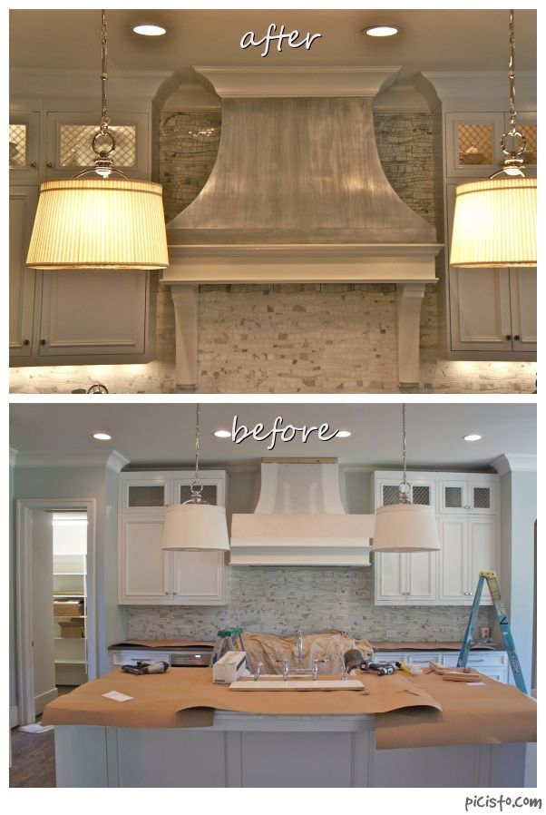 Beautiful range hood done in a pewter finish with Modern Masters metallic colors. Artistry by Nashville's Bella Tucker.
