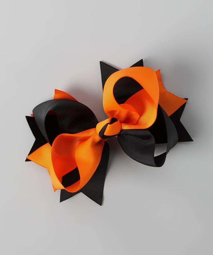 Orange & Black Windmill Bow Clip