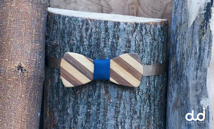 Striped Wooden Bow Tie