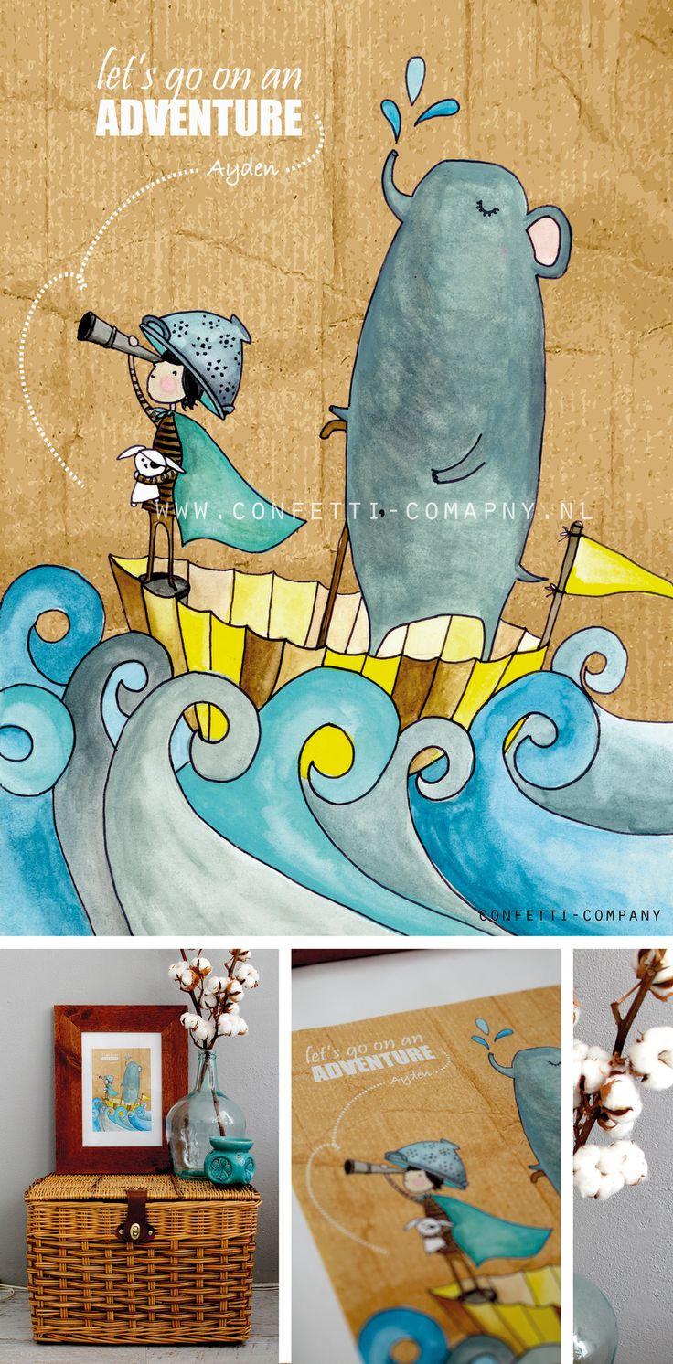 Illustration little boy & Elephant  - Let's go on an adventure. - Illustratie jongen&olifant - www.confetti-company.nl