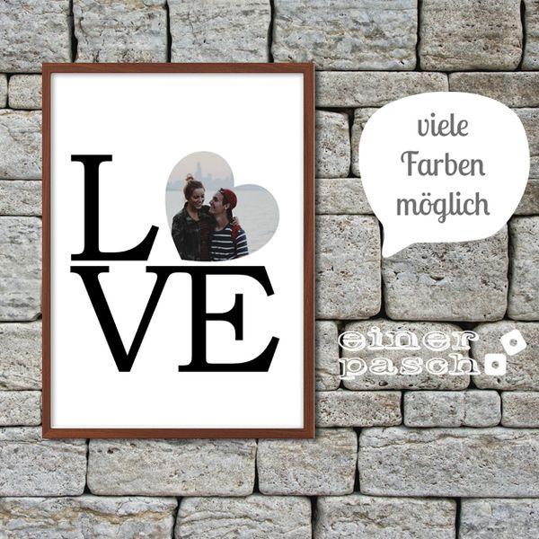 Digitaldruck - LOVE Herz mit eurem Foto Perfekt zur Hochzeit! - ein Designerstück von einerpasch bei DaWanda