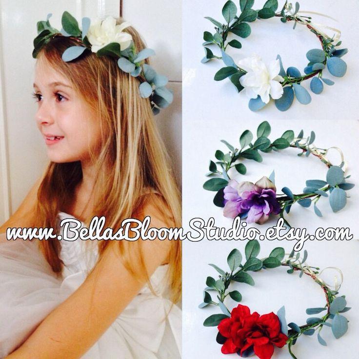 Flower Crown eucalyptus crown Bridal Crown Flower girl wreath flower girl Halo Kids flower crown white flower crowns  Flower girl etsy by BellasBloomStudio on Etsy