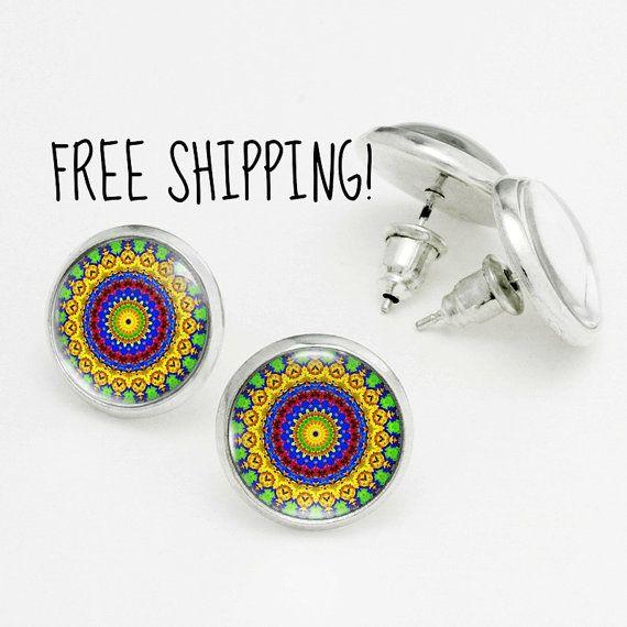 Beach Jewelry Summer Earring Studs - Juicy Yellow Multicolored Mandala Earrings. Nickel Free Stud Earring, Silver Stud Earrings KSZ02R05K02S
