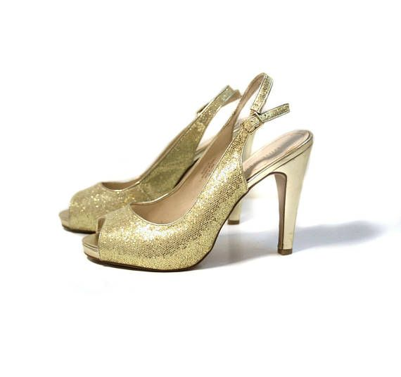 d870976fab 90s Gold Peeptoe Pumps 8M, Gold Slingback Heels, Nine West Metallic Gold  High Heels, 9 West Gold Shoes, Vintage 40s Style Glitter Pumps 8