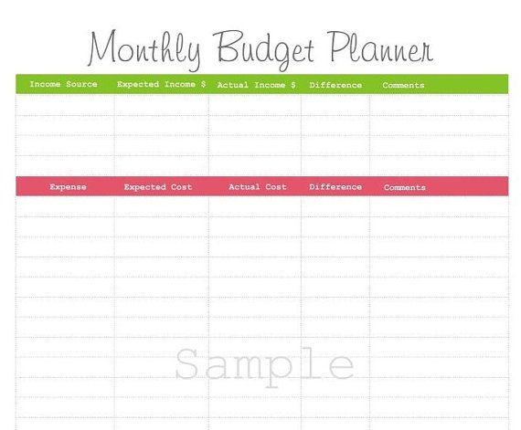 Monthly Planner Free Finance Printables