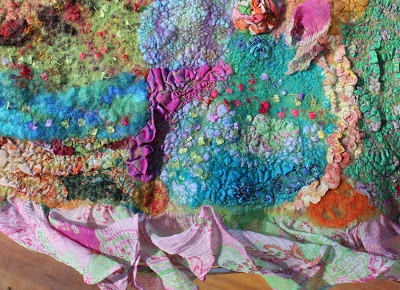 Elizabeth Creates- ruffles and pleats in silk felted into the collaged piece- with Margo Duke.