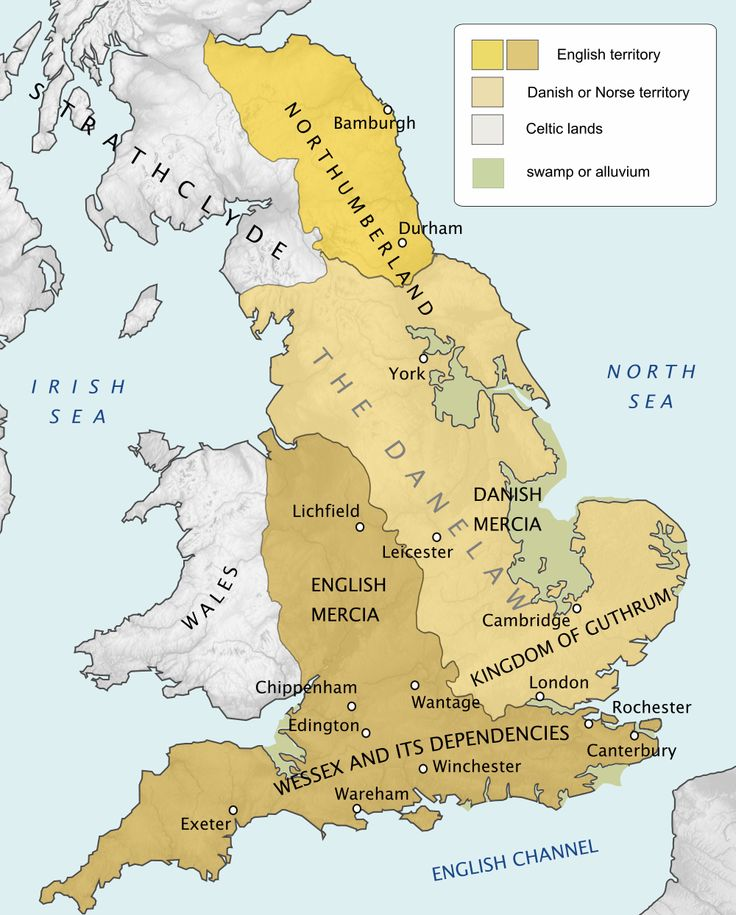 Map of England in 878 showing the extent of the Danelaw