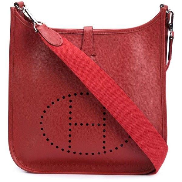 Hermès Vintage Evelyne GM Shoulder Bag ($3,099) ❤ liked on Polyvore featuring bags, handbags, shoulder bags, red, vintage leather purses, vintage purses, red leather shoulder bag, red handbags and hermes handbags
