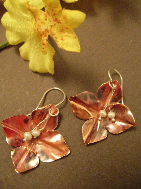 Sweet Copper Flower Earrings with Pearls by LauraGuptillJewelry