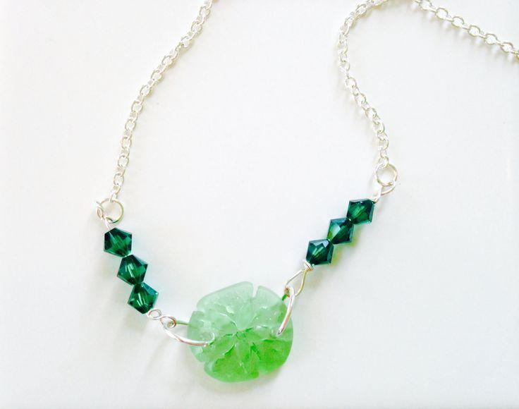 Sand Dollar Necklace Sea Glass Jewelry Ocean Jewelry Mermaid Necklace Beach Bride Bridesmaid Jewelry Wedding Jewelry Beach Glass #N14