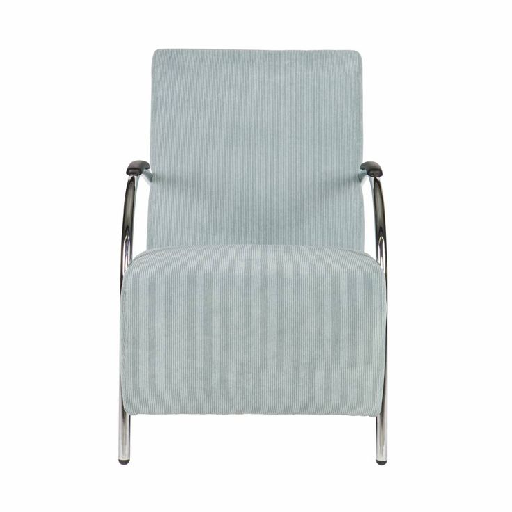 LEF collections Fauteuil Halifax poeder blauw in ribstof textiel 90x56x85cm