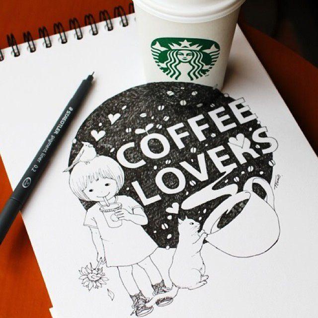 Ilustração com copo do Starbucks por Tomoko Shintani