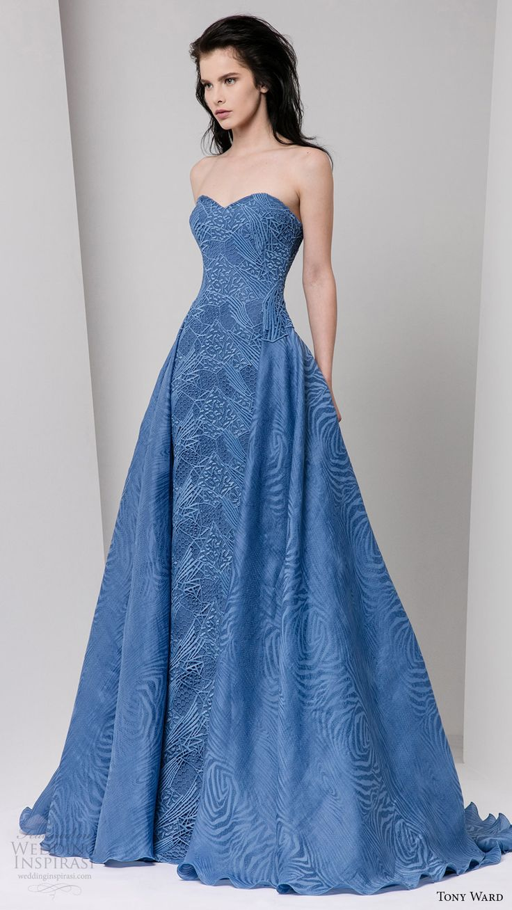 tony ward fall 2016 rtw strapless sweetheart a line gown blue overskirt
