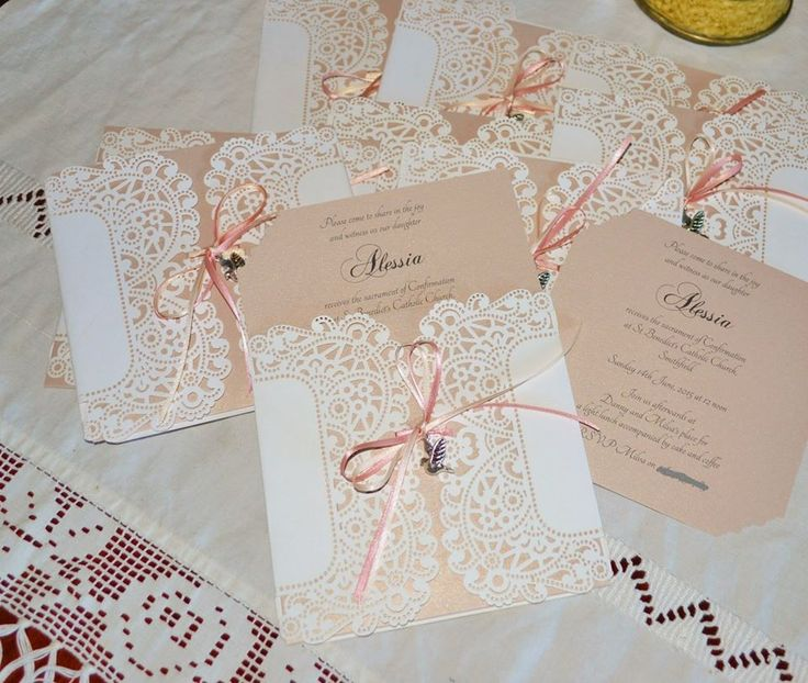 ALESSIA - pocket style invite in lace detail with dusty pink satin ribbon and silver toned dove