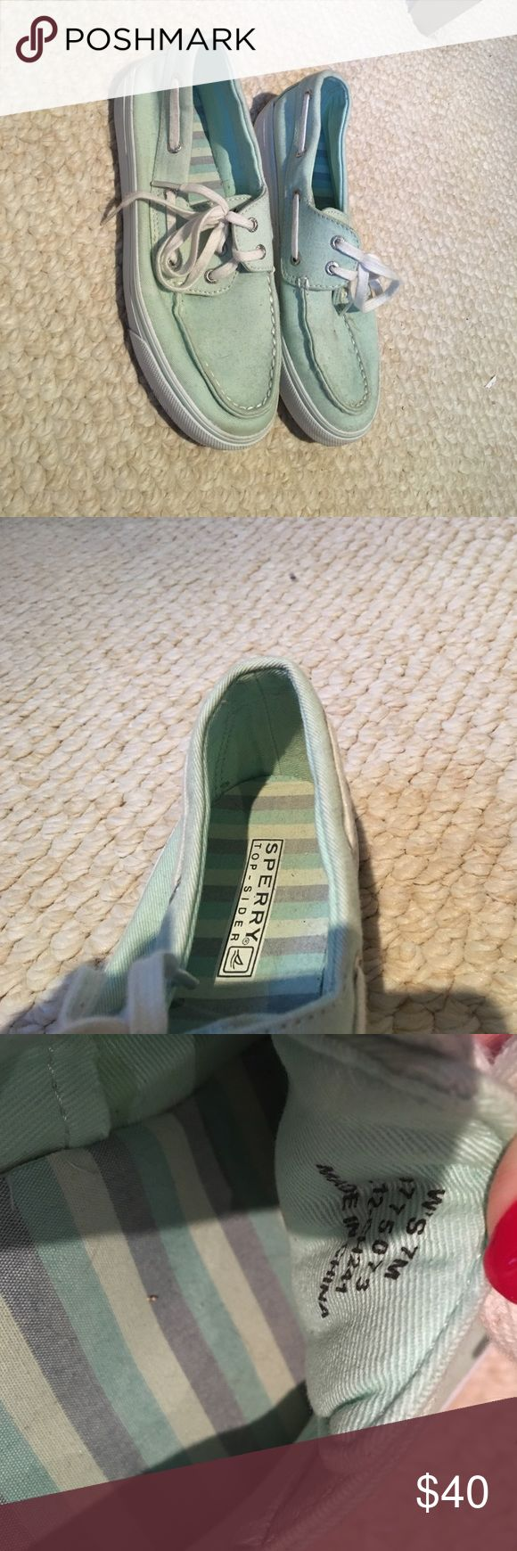 Shoes Mint green Sperrys. Thats not dirt on them just dust from being in a box! Lol they'll clean up nice Sperry Shoes Flats & Loafers