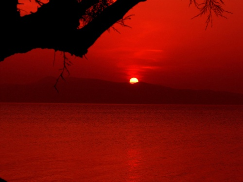 Red sunset in Agistri