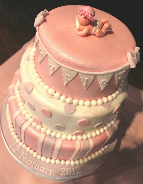 14.1 Three Tier Baby Girls Pink Bunting Christening Cake (in detail) by Quite Contrary Cakes, via Flickr