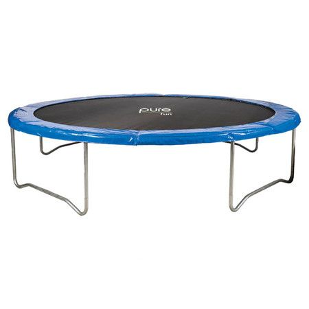 14-foot outdoor trampoline with galvanized steel tubing and w-shaped legs. Comes with a weather-resistant mat.    Product: Trampolin...