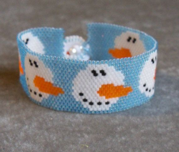 Snowman Face  Peyote Pattern by CreativeGoods on Etsy, $3.60
