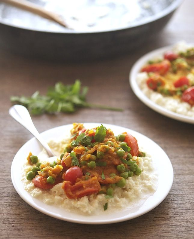 """Tomato Curry with Creamy Coconut Cauliflower """"Rice"""" / the iron you"""