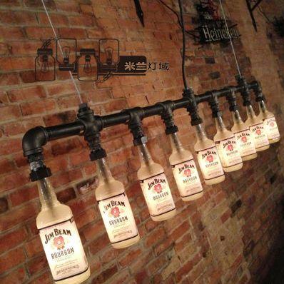 酒瓶灯 瓶子玻璃瓶吊灯 loft工业风格酒吧咖啡厅复古灯饰水管吊灯-淘宝网 699rmb,SGD 140 guangdong KD free