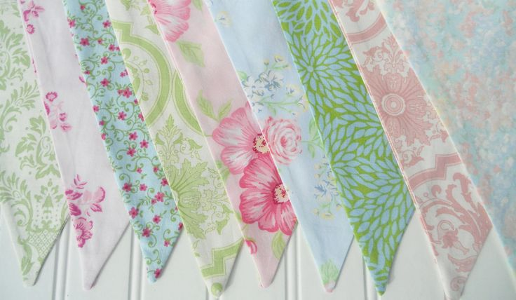 Pastel Shabby Chic Bunting - Fabric Flags Banner - Pennant Flags, Girl's Birthday, Photo Prop, Wedding, Baby Shower, Nursery Decor. $28.00, via Etsy.
