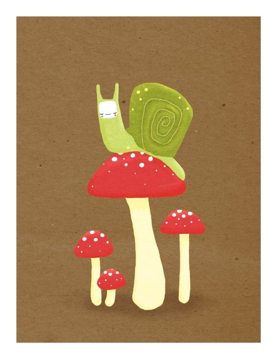 snail and mushrooms nursery art. brown, green, red - LARGE 11 x 14 art print for baby, kids, children (MORE COLORS). $30.00, via Etsy.