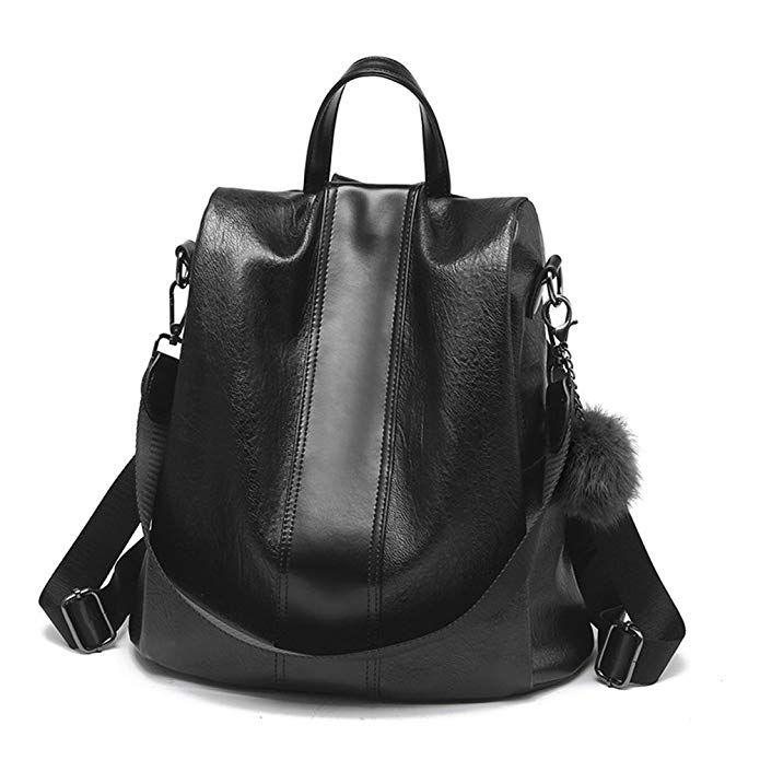Women Students Bag Backpack PU leather Purse Waterproof Anti-theft Shoulder Bag