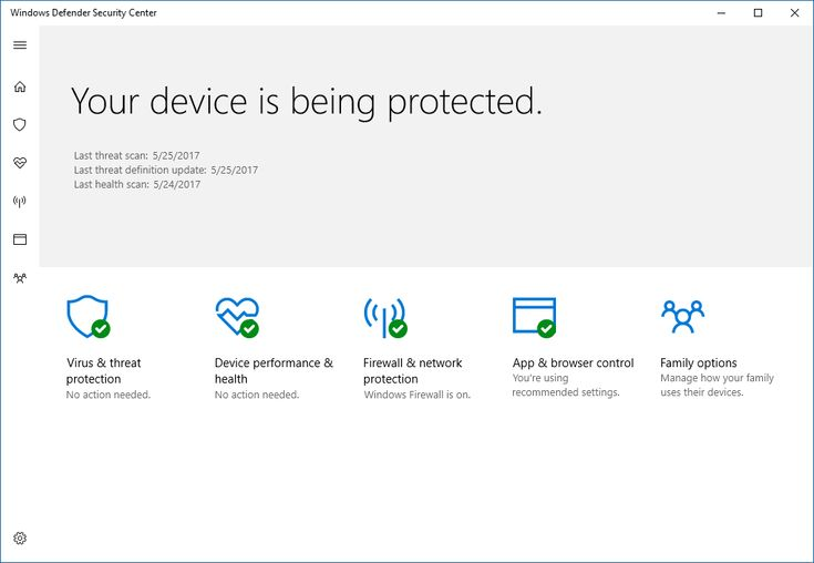 Screen shot of the Windows Defender Security Center app showing that the device is protected and five icons for each of the features