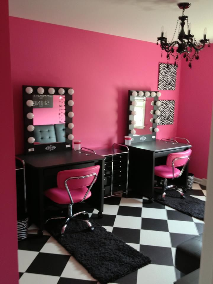Pink and Black Vanity Room