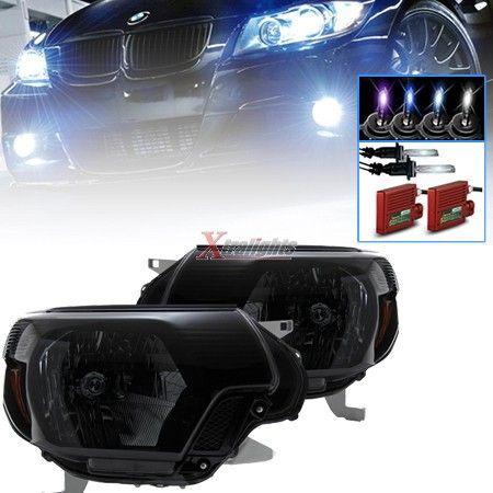12-15 Toyota Tacoma OEM Style Headlights - Black Smoke (Pair) + HID Xenon Lights Kit Package