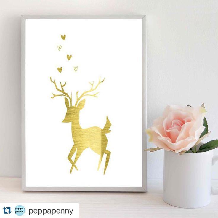 Supersøtt gullprint til barnerommet  Pris kr 299 og fri frakt. 3 stk igjen  #Repost @peppapenny with @repostapp. ・・・ Nursery Room Decor. Cute Baby Deer Print in Gold Foil #nurseryart #baby deer #foilprint #goldfoil #peppapenny #littlegirlsroom #littleboysroom #nurserystyle #art #poster #gullprint #veggdekor  #barnerom #barneromsinteriør #gutt #jente #julegavetips #jenterom #gutterom
