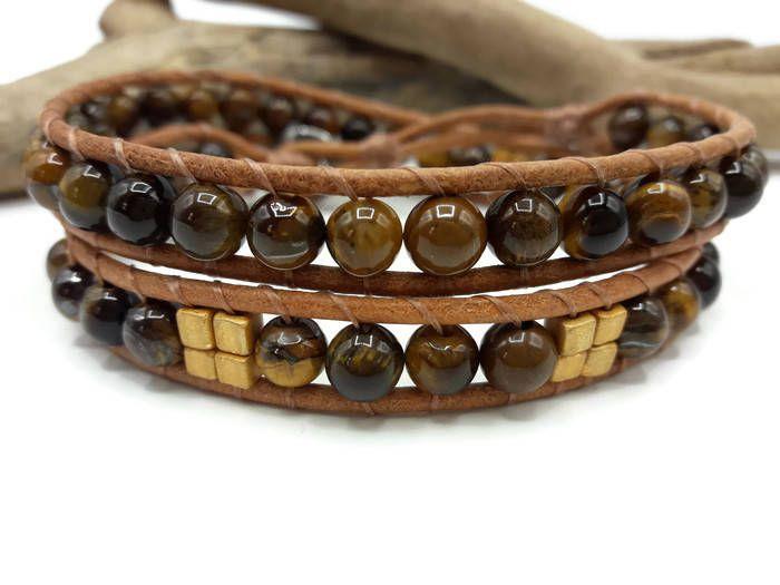 Bracelet Wrap pierres fines Bracelet Homme oeil de tigre
