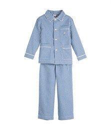 Pyjama garçon en tubique rayé, broderie voilier bleu Logo / blanc Lait - Petit Bateau