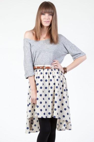 Sosie high-low polka dot skirt