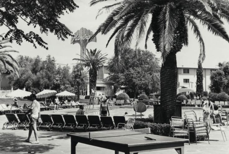 Vintage Las Vegas Photo - Flamingo Casino Hotel pool in the late 1960s before remodeling. ✿❀