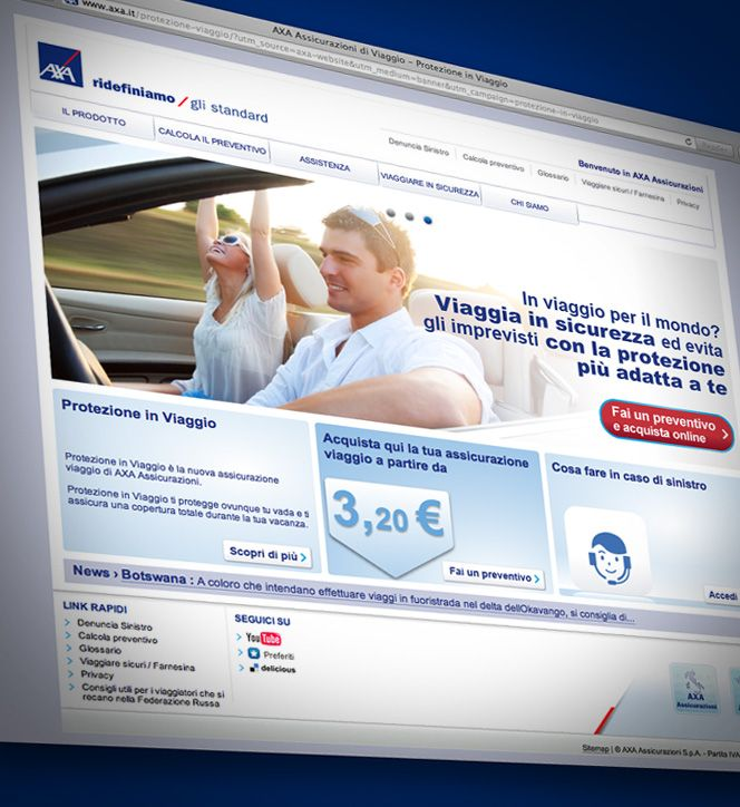 Graphic design for a new travel insurance product website by Axa Assicurazioni.