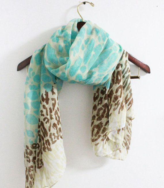 Tri Tone Leopard Scarf Animal Pattern Scarf Blue by LitoPinkOwl, $15.00