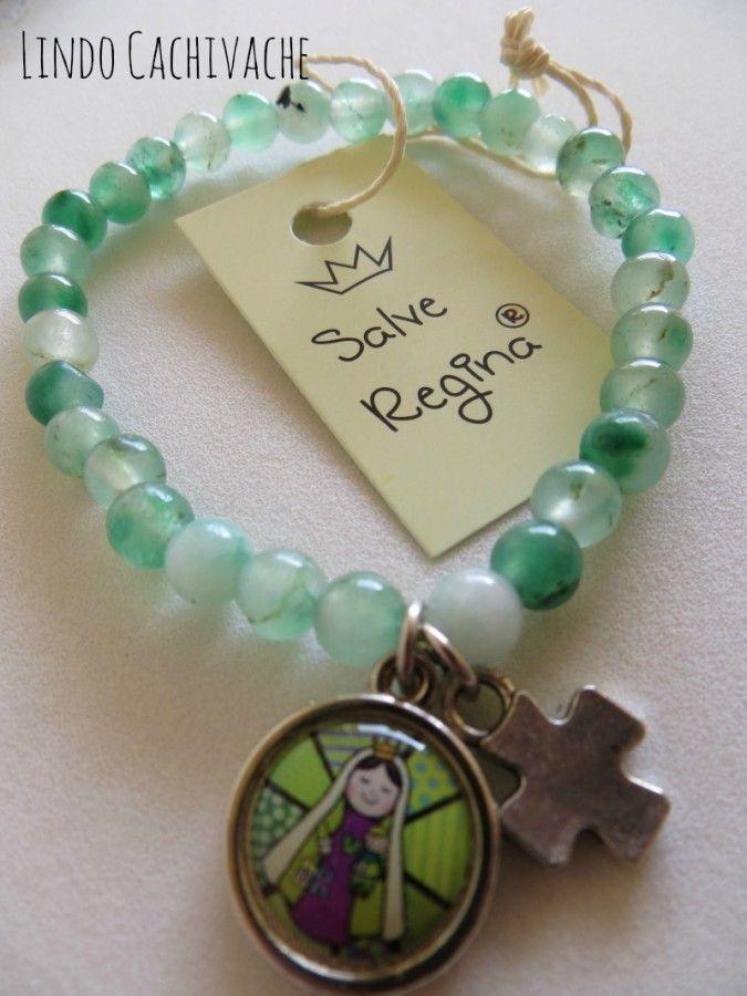 Pulsera de piedras con  Advocacion Nuestra Señoradel Carmen Linea Salve Regina…