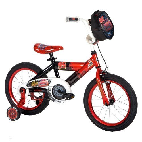 Huffy Disney Cars Boys Bike, Mirror Red, 16-Inch by Huffy. $98.95. Training wheels. Handlebar Pad. Rear coaster brakes. Steel Y-frame. Graphic Seat. Amazon.com                A great choice for teaching your youngster to ride a bike, these brightly colored bikes from Huffy are inspired by the Disney character Lightning McQueen from the classic Disney/Pixar movie, Cars. It comes in a 12-inch model (recommended for ages 2 to 5) and 16-inch model (for ages 3 to 6)....