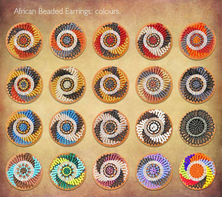 All the African Beaded Earrings shown on this board are available in these colours.