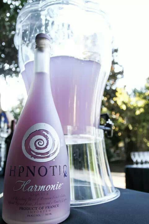 "Purple wedding drink/signature drink, ""Purple Rain."" Very easy to make and can be made in large batches for easy serving! Use Harmonie by Hpnotiq and combine with Sprite to your taste! The more Sprite/Lemon-Lime soda, the lighter the purple."
