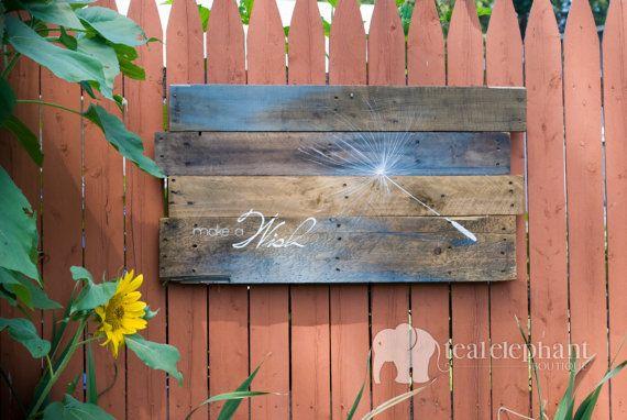 Pallet Art Dandelion Seed Make A Wish Wall Hanging Blue