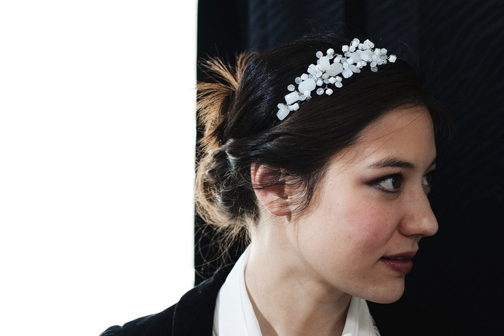 Milk Glass Bridal Headband- beaded tiara.