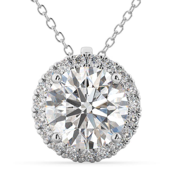 180 best diamond necklaces pendants images on pinterest diamond halo round diamond pendant necklace 14k white gold 229ct aloadofball Choice Image