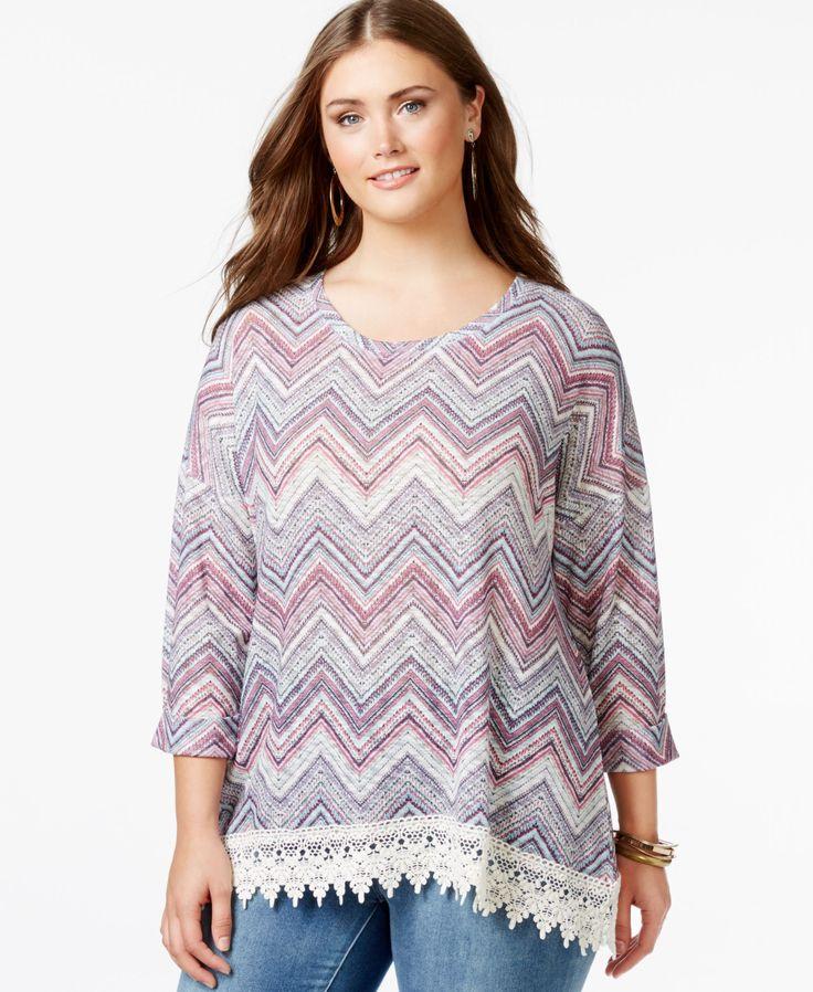 Eyeshadow Plus Size Chevron-Print Crochet-Trim Top