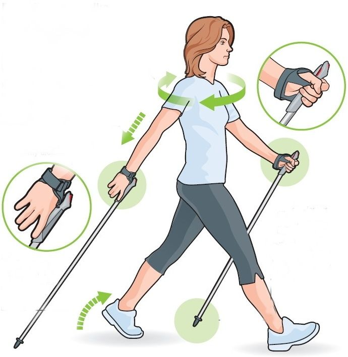 Superb diagram for hand positions while Nordic Pole Walking