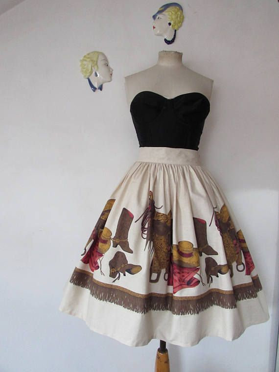 1950's John Wolf Boots and Saddles novelty print skirt